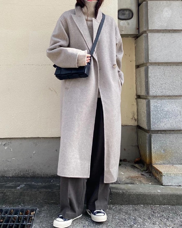 Lora Overcoat Beige Grey