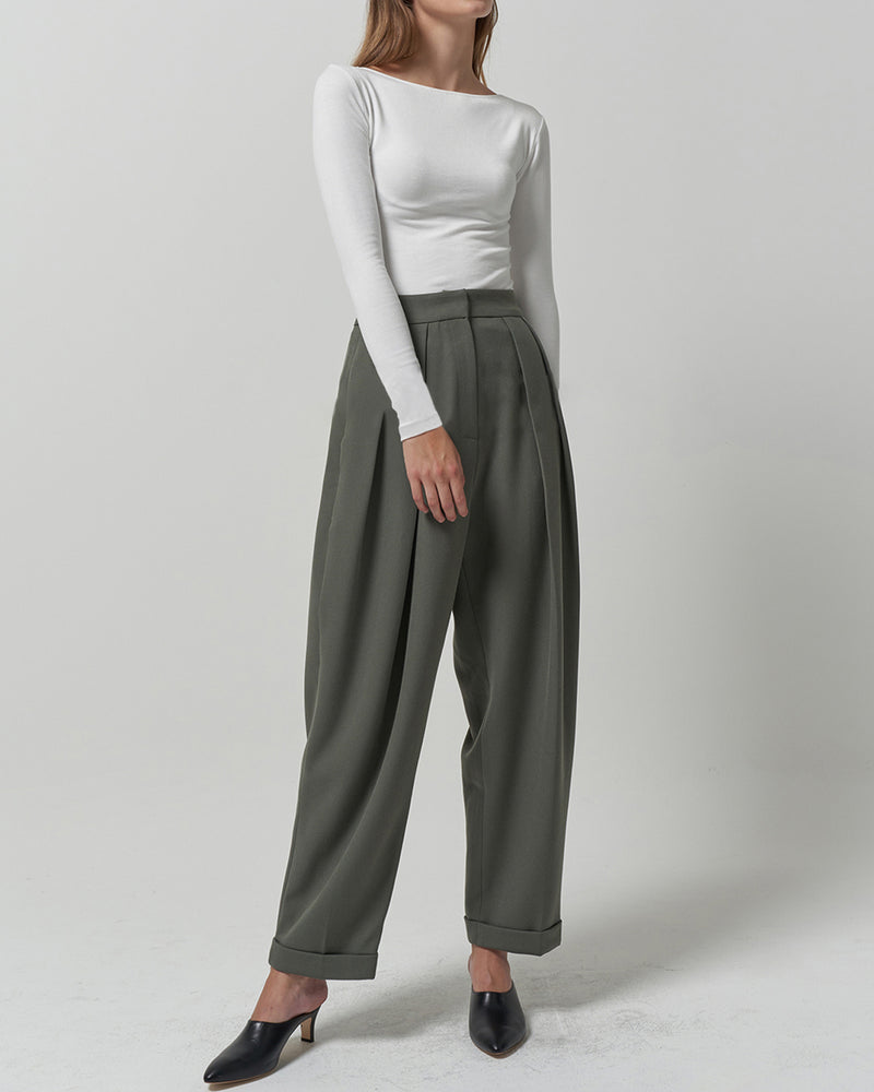 Moss Green Pleated Pants