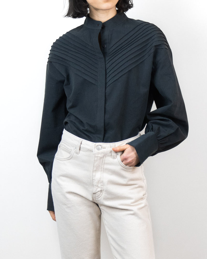 Sanna NY Pleated Bodice Shirt Navy