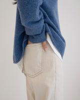 Natural Stitch Crop Denim