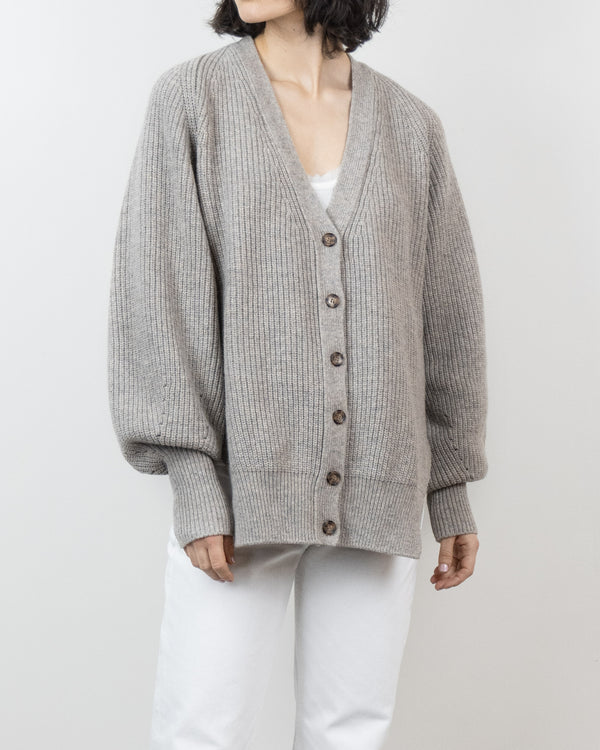 V Neck Cardigan in Oatmeal