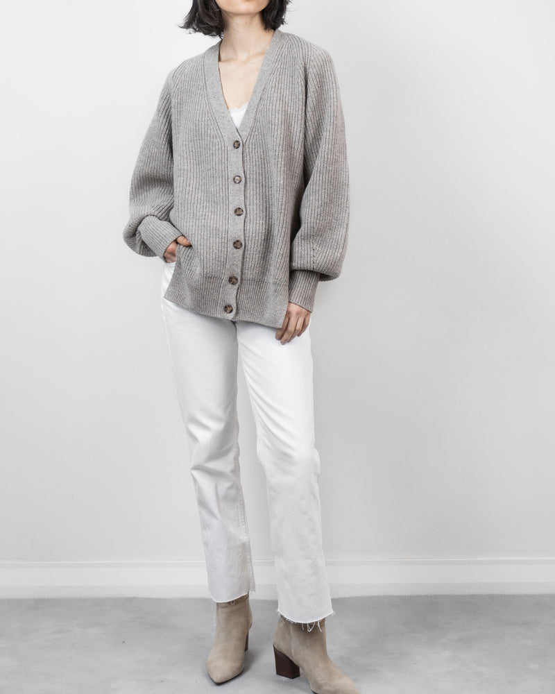 V Neck Cardigan in Charcoal Navy