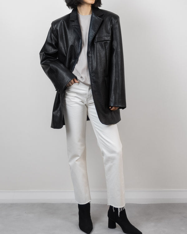 Sanna NY Oversized Vegan Leather Blazer