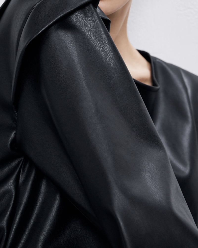 Pleated Vegan Leather Top