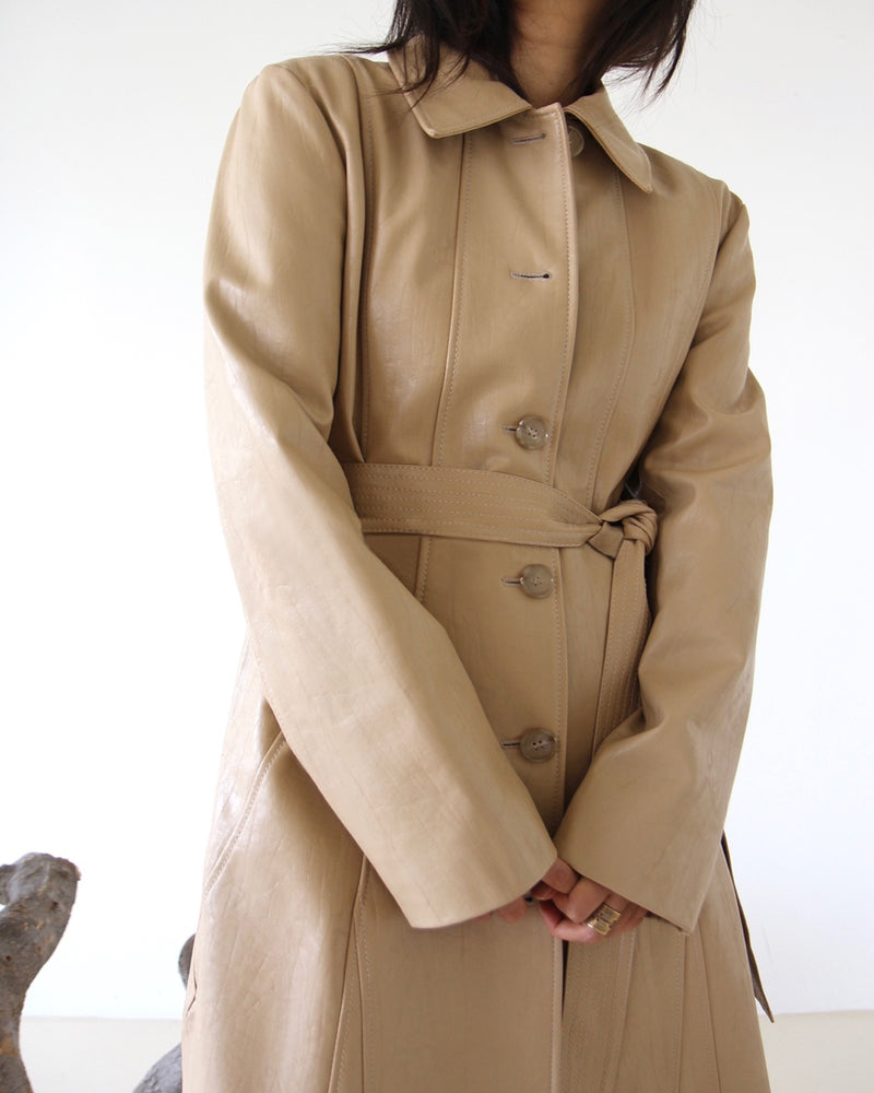 Sage Vegan Leather Trench