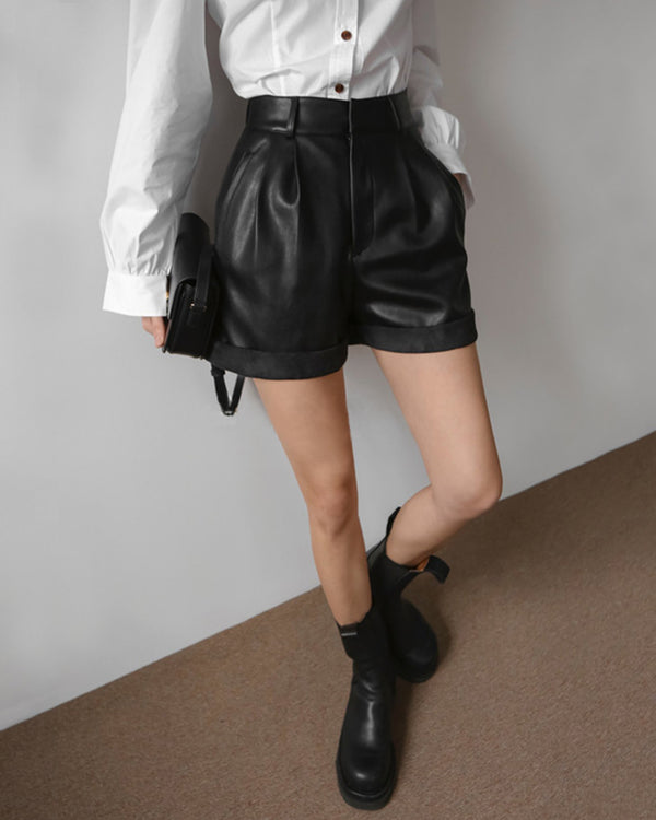 VEGAN LEATHER ROLLED SHORTS