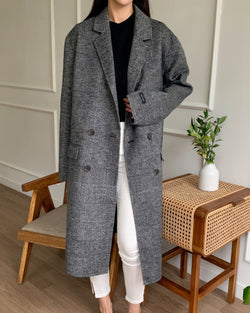 Sanna NY Herringbone Overcoat Charcoal