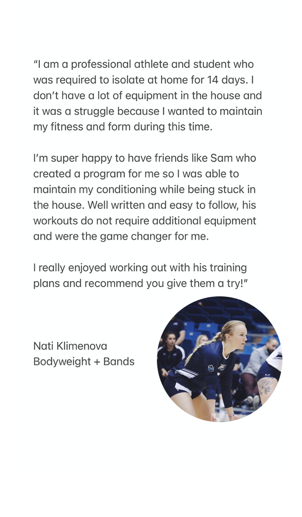 Bodyweight and Bands volleyball program testimonial