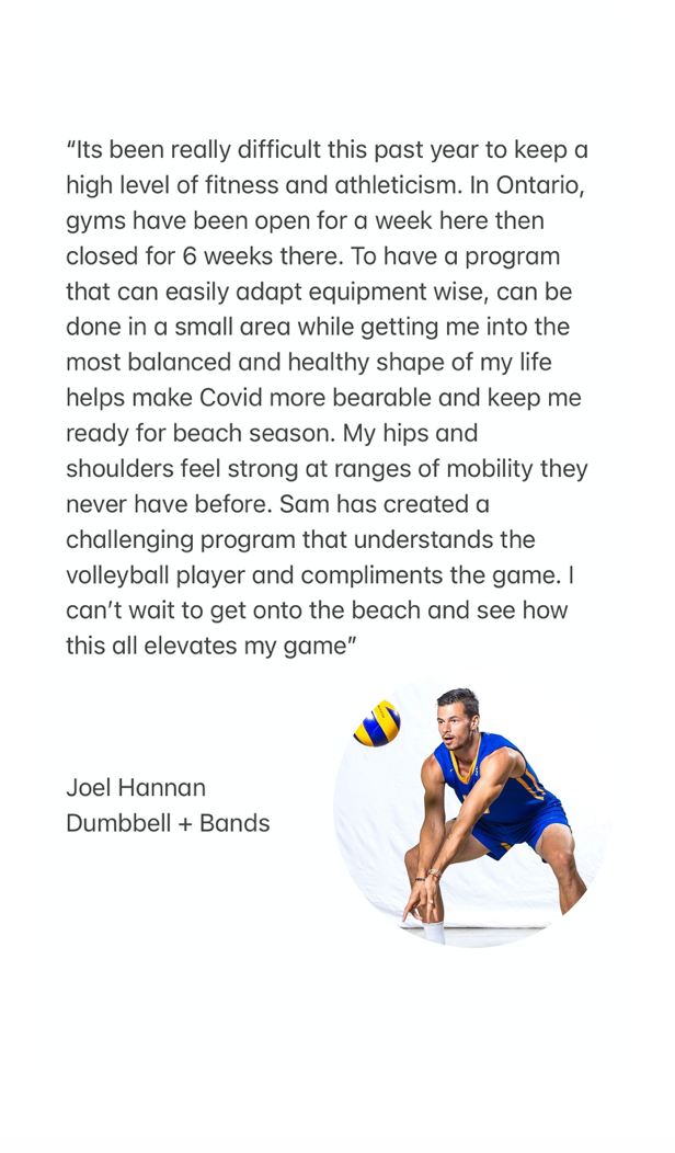 dumbbell and bands volleyball program testimonial