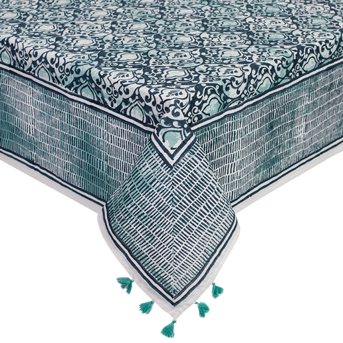 Printed Cotton Table Cloth - Verte