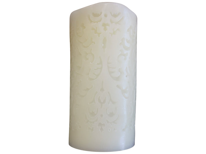 Candle Flameless Carved 8.5x17cm