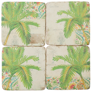 Coaster Resin Green Palm S/4