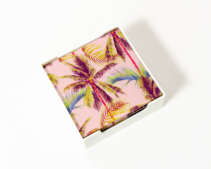 Coaster Glass Blush Palm Trees S/4