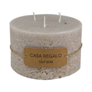 Candle Earth Pillar 12x7.5cm Cream