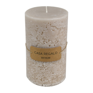 Candle Earth Pillar 9x15cm Cream