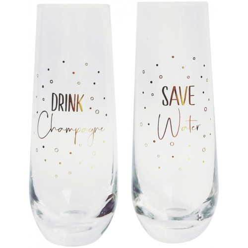 Champagne Glass Save Water Drink (S/2)