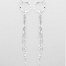 Load image into Gallery viewer, Hoop Earring with Hanging Chain