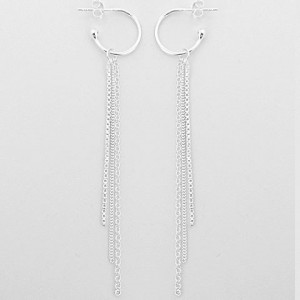Hoop Earring with Hanging Chain