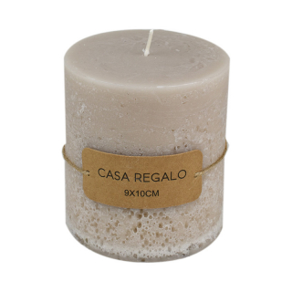 Candle Earth Pillar 9x10cm Cream
