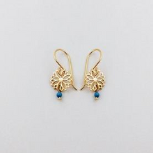 Load image into Gallery viewer, Gold Filigree Flower Earring w/ Turquoise