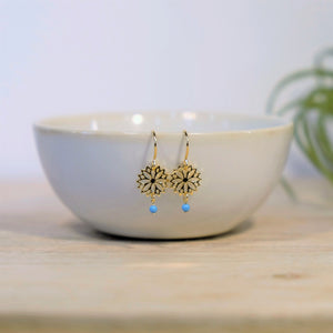 Gold Filigree Flower Earring w/ Turquoise