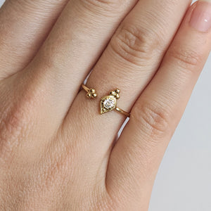 CZ and Ball Detail Open Gold Ring