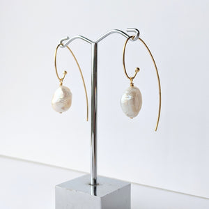 Long Gold Pearl Hook Earrings