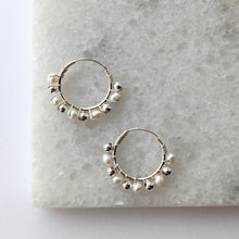 Load image into Gallery viewer, Pearl Beaded Hoop Earrings