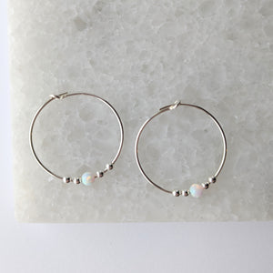Opalite Bead Hoop Earrings - White