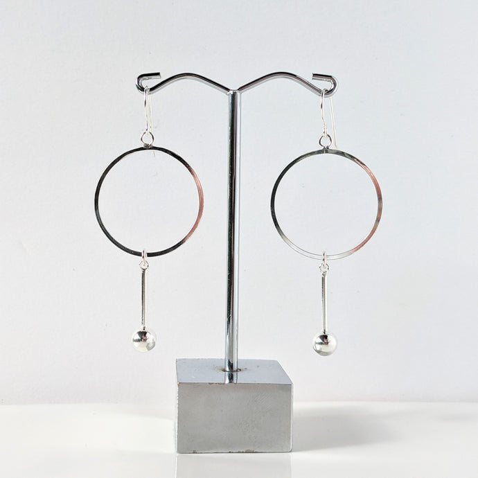 Circle and Hanging Ball Earrings