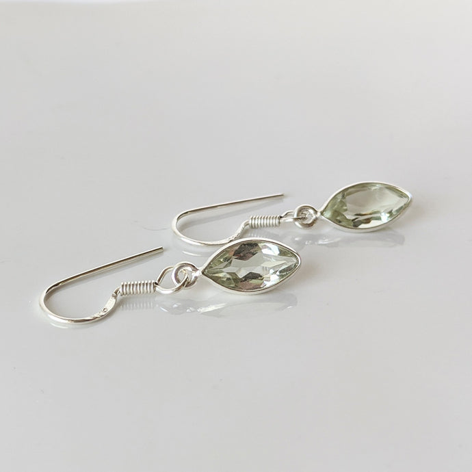 Green Amethyst Marquee Earrings
