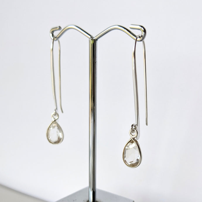 Clear Quartz Hook Earrings