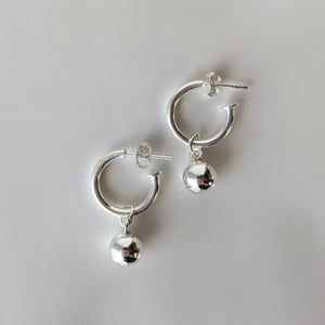 Thick Hoop with Ball Earrings