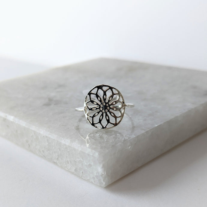 SS Filigree Flower Ring