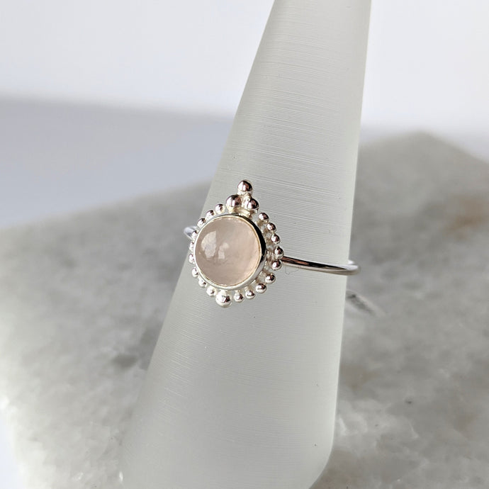 Detailed Rose Quartz Ring