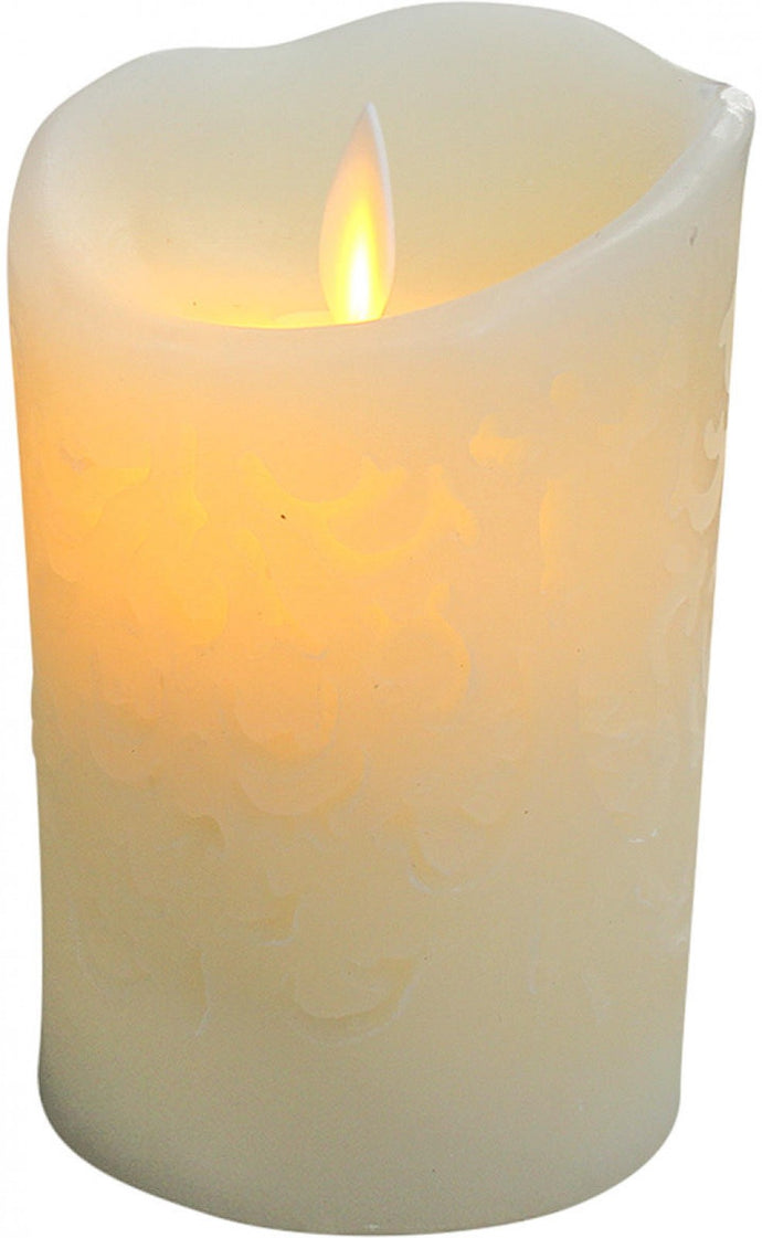 Candle Flameless Carved 9x14.5cm