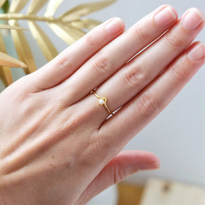 Gold Dainty Pearl Ring