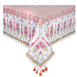 Printed Cotton Table Cloth - Coral