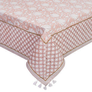 Printed Cotton Table Cloth - Rose
