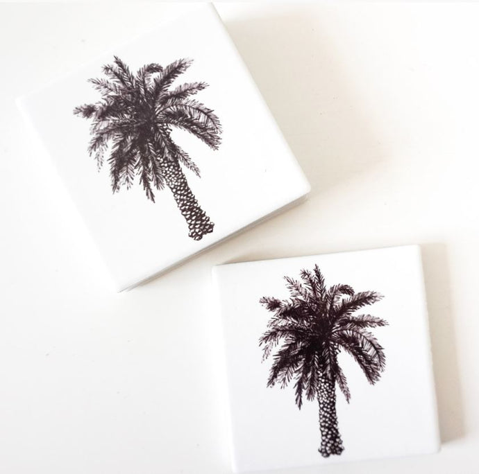 Coaster Ceramic S/4 - Palm Sketch B+W