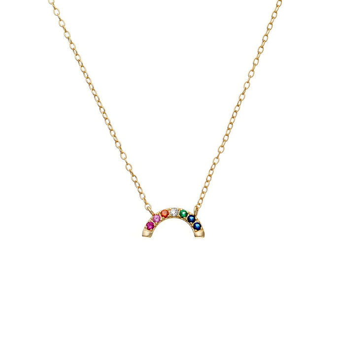 Necklace 14K gold plated Rainbow CZ