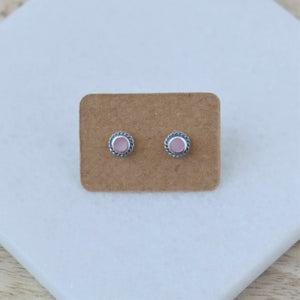 Pink Stone Stud Earrings