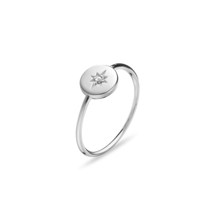 Ring Disc with Star Featuring White CZ