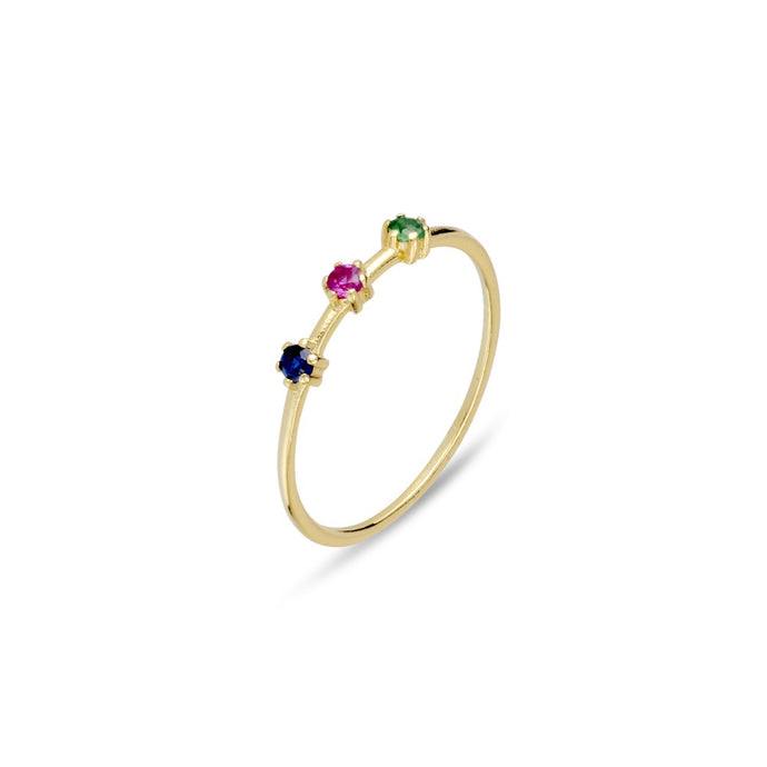 Tri-coloured CZ Ring