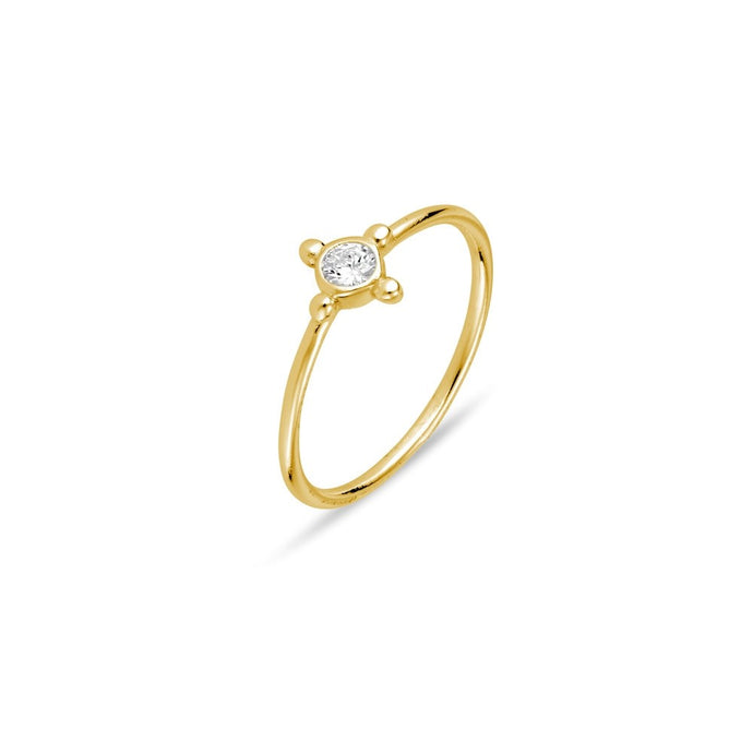 Ring CZ  with Ball Point Detail - Gold