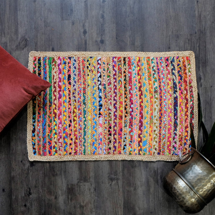 Hand Braided Rug Multi - Jute + Recycled Mixed Fabric 60x90cm