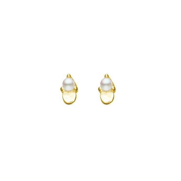 Earring Stud with Pearl and Disc Detail