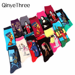Art Oil Painting Cotton women Men's Socks