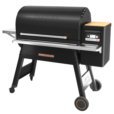 Traeger Timberline 1300 wood pellet fired grill with lid closed.