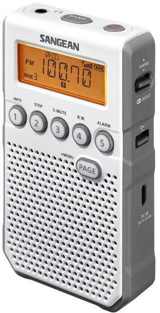Sangean DT-800WH AM/FM Personal stereo radio with ear phones, plus speaker, rechargeable.